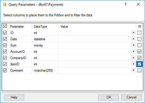Choose SELECT and WHERE fields