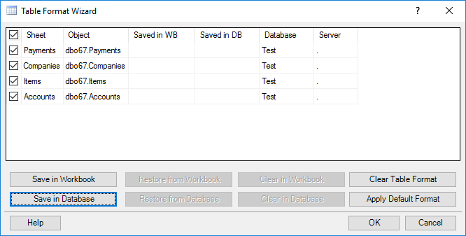 Table Format Wizard Dialog Box