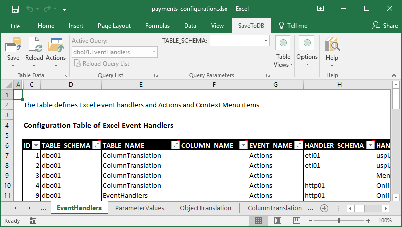 Generated Excel workbook used to configure SaveToDB Add-in