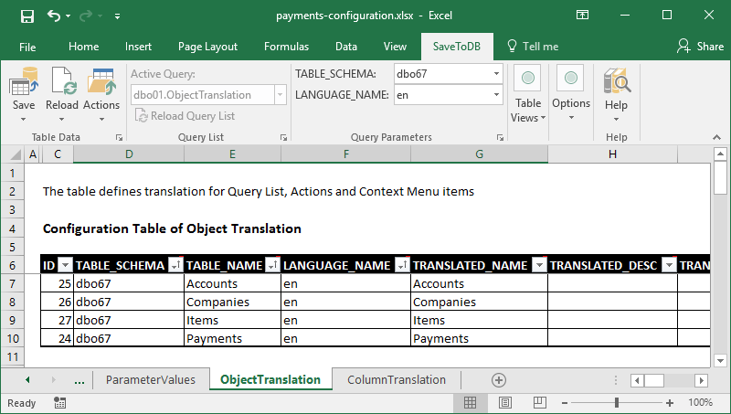 ObjectTranslation configuration table
