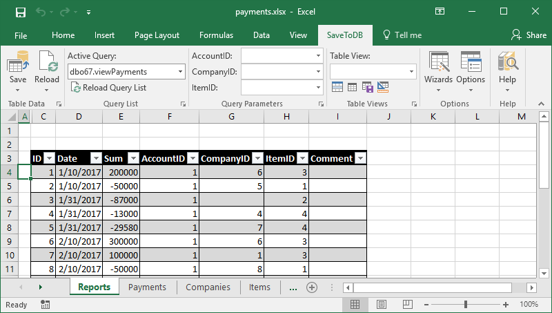 Sample of a table with foreign keys