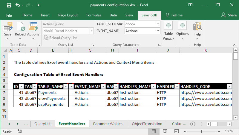 Actions handlers used to configure the ribbon Actions menu