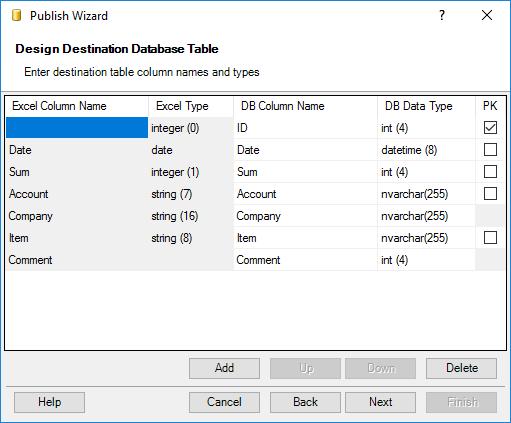 Design a target database table