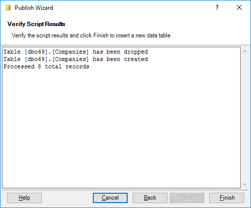 Check the script result and click Cancel to skip inserting the table into Excel