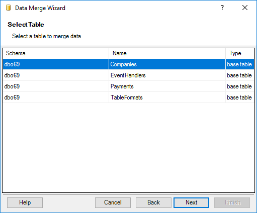 Select the target table to merge data