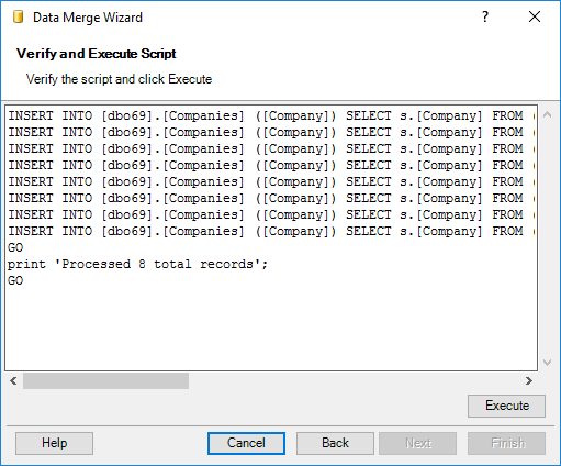 Check generated commands to merge data and click Execute