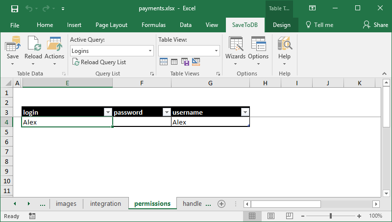 Excel worksheet to manage database logins
