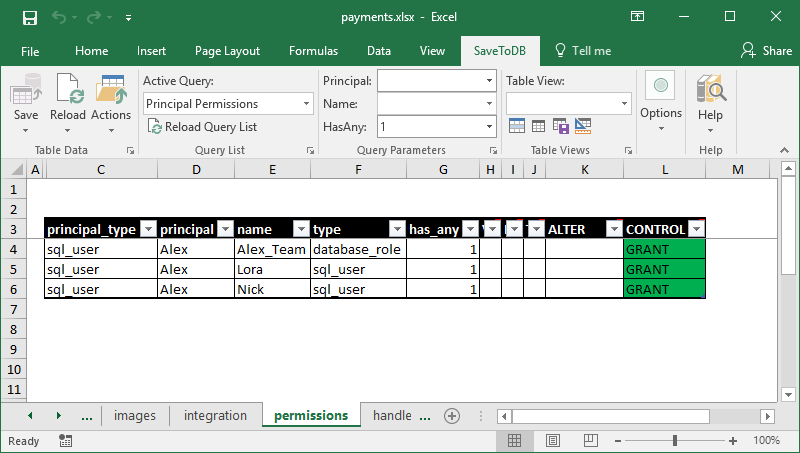 Excel worksheet to manage principal permissions