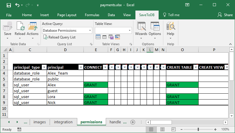 Excel worksheet to manage database permissions