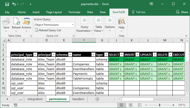 Excel worksheet to manage database object permissions