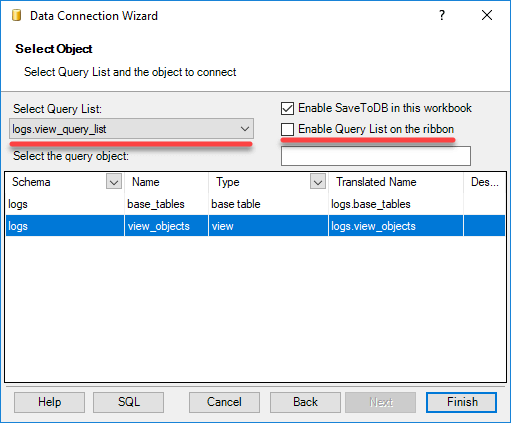 Connecting to Change Tracking Framework Objects in Excel