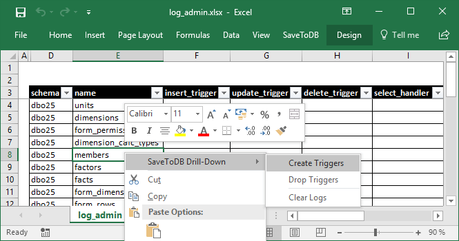 Excel Context Menu to Manage Change Tracking Objects