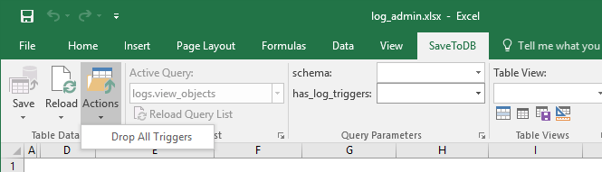 Actions Menu of Change Tracking Framework in Excel