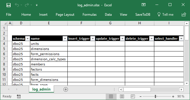 Excel Table to Manage Change Tracking Objects