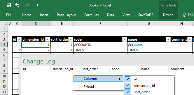 Excel Task Pane to Track Changes