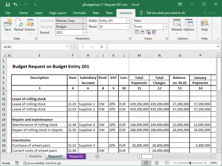 The sample shows an example of the budget request of the Gartle Budgeting application