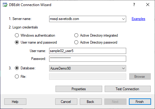 DBEdit Connection Wizard - Reconnect to Database