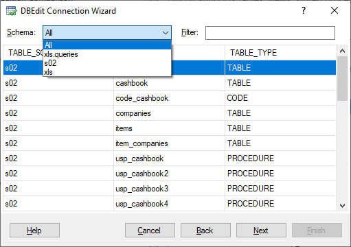 DBEdit Connection Wizard - Select Schema to Filter Objects