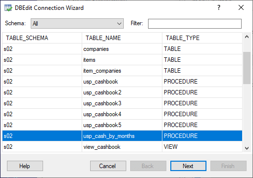 DBEdit Connection Wizard - Select Object for New Worksheet