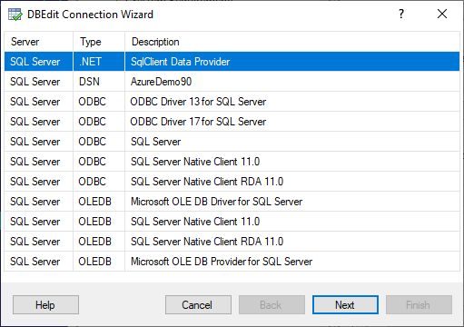 DBEdit Connection Wizard - Select Provider for SQL Server