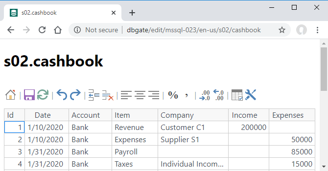 DBGate Website - s02.cashbook