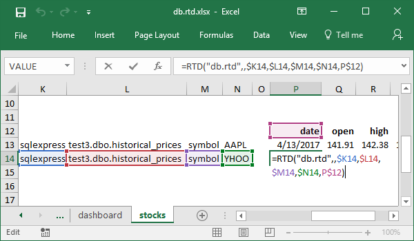 Date formula example for historical stock prices