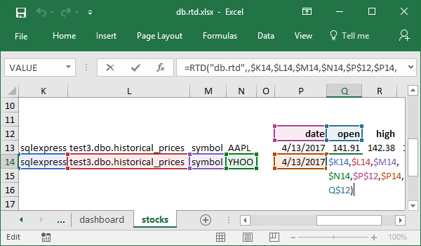 Open formula example for historical stock prices