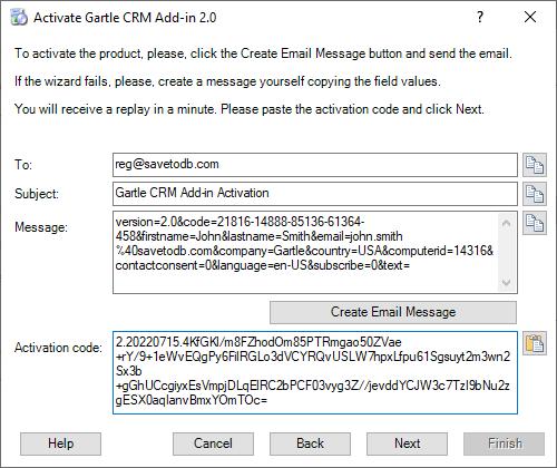 Gartle CRM Registration - Paste the activation code