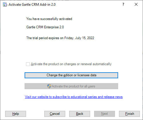 Gartle CRM Registration - The final step