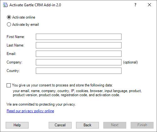 Gartle CRM Registration - Fill personal data