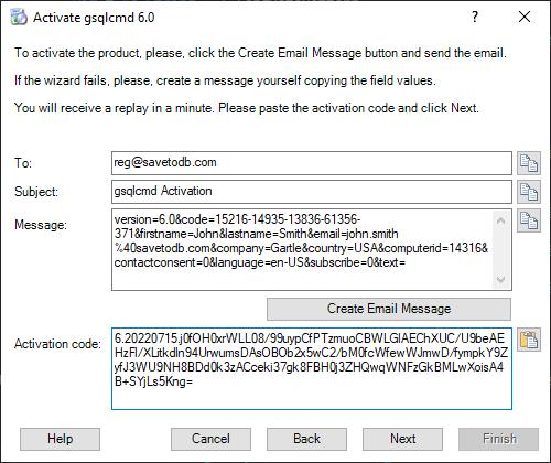 gsqlcmd Registration - Paste the activation code