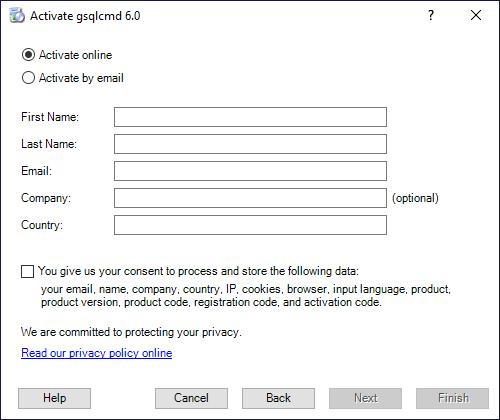 gsqlcmd Registration - Fill personal data