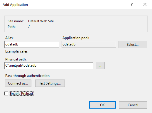 ODataDB Installation on Windows - Creating Application