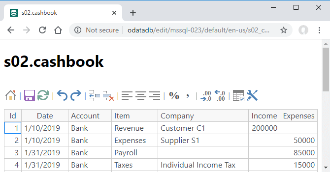 ODataDB Website - s02.cashbook