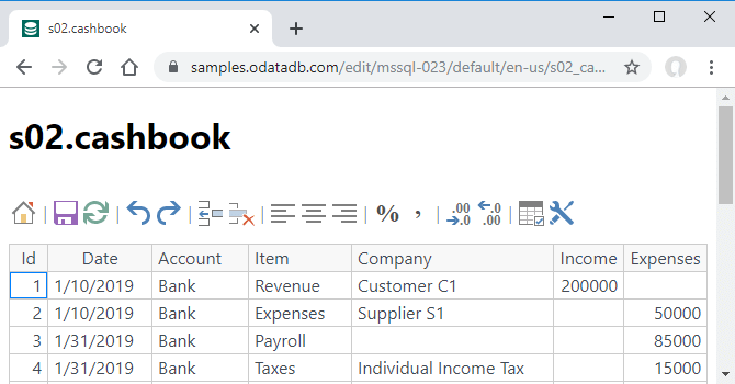 ODataDB Samples - s02.cashbook