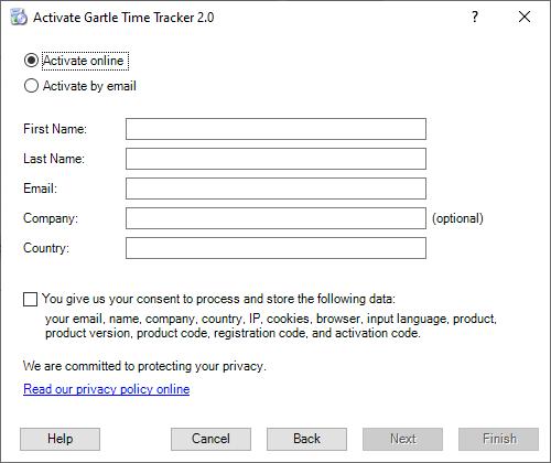 Gartle Time Tracker Registration - Fill personal data