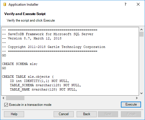 Execute the SaveToDB Framework 8 installation code