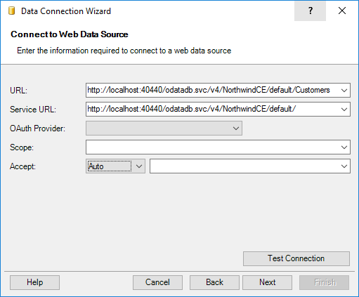 Connecting to OData services using Data Connection Wizard of the SaveToDB add-in
