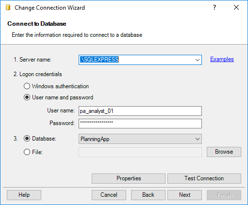 Change Connection Wizard - Database connection