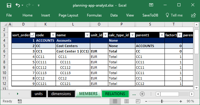 Configuring units, calculation types, parents, and factors