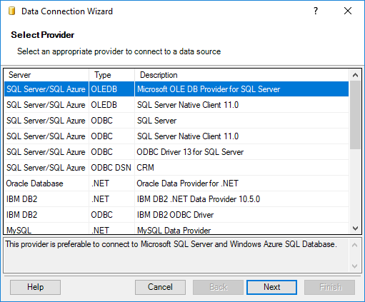Select Microsoft OLE DB Provider for SQL Server