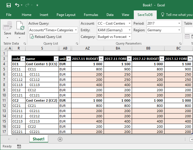 Final budget form in Microsoft Excel
