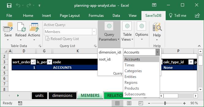 Members worksheet - Selecting the Accounts dimension
