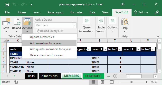 Adding Times members using the Actions menu