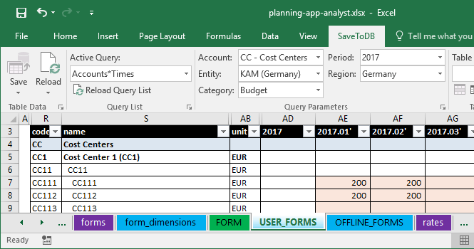 Editing budget data in Microsoft Excel