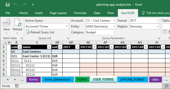 Example of a form with applied parameters