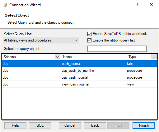 Select the required database object