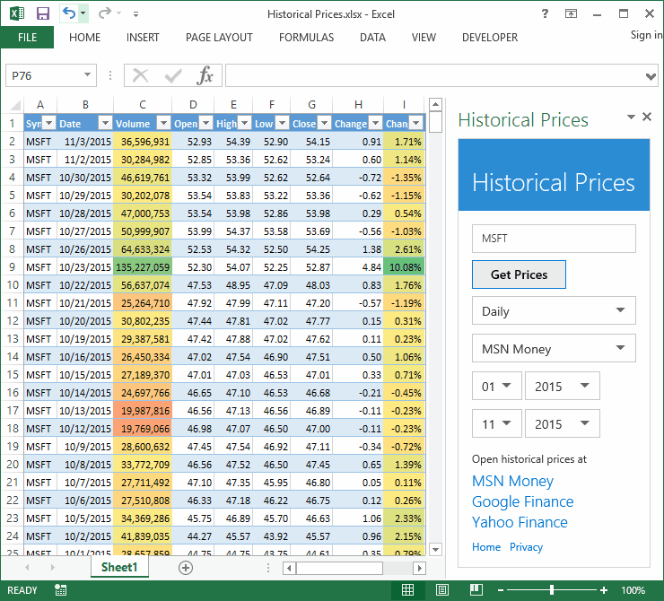 Excel 2016 Stock Quotes: Historical Prices Excel Add-In