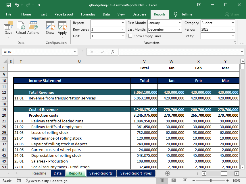 The sample shows an interactive report created in Excel