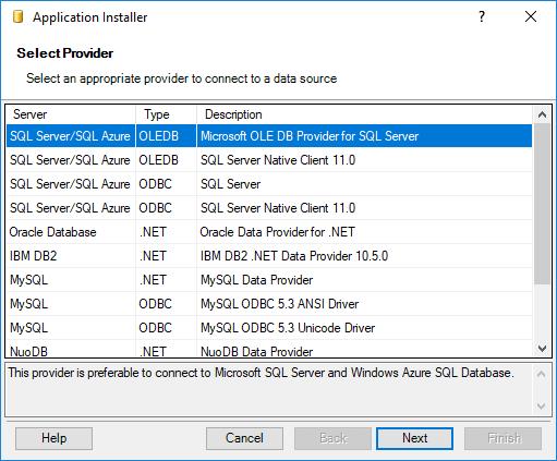 Installing SaveToDB Framework - Selecting Provider